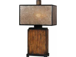 "29"" Rustic Wood, Black Metal & Natural Mica Rectangular Box Shade Table Lamp"
