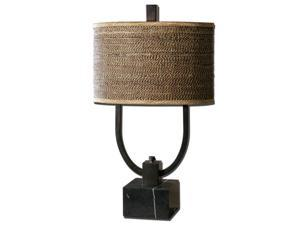 "30"" Rustic Bronze, Black Marble & Woven Rattan Oval Drum Shade Table Lamp"