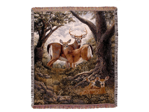 "Hidden Eyes Deer Family Afghan Throw Blanket 60"" x 50"""