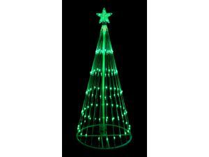 4' Green LED Light Show Cone Christmas Tree Lighted Yard Art Decoration