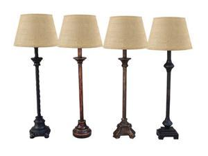 Set of 4 Distressed Black and Brown Buffet Lamps with Burlap Drum Shades