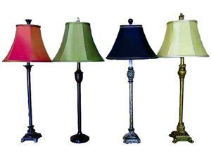 4 Gold, Bronze, Silver & Black Buffet Lamps with Coordinating Fabric Shades 24""