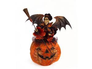 "28"" Decorative Spooky Plush Witch in Pumpkin Halloween Decoration"