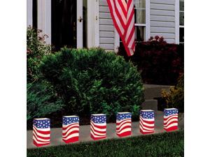 Pack of 12 Lighted Wax Tea Candles American Flag Luminaria Kit