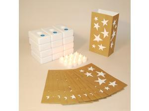 Pack of 12 Battery Operated LED Flameless Tea Candles Gold Stars Luminaria Kit