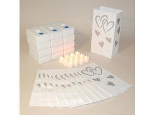 Pack of 12 Battery Operated LED Flameless Tea Candles Hearts Luminaria Kit