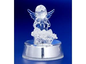 Pack of 6 Icy Crystal Illuminated Angel Watching Over Jesus Figurines 4""