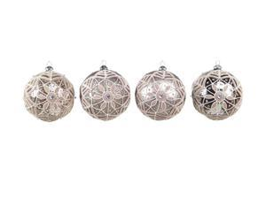 """Set of 4 Neutral Warmth Sequin/Glitter Glass Ball Christmas Ornaments 5"""""""