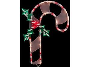 """18"""" Lighted Candy Cane Christmas Window Silhouette Decoration"""