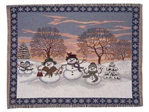 "Adorable Festive Snowman & Friends Holiday Tapestry Throw Blanket 50"" x 60"""