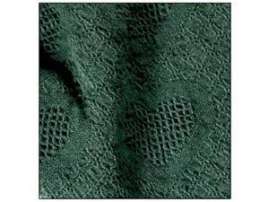 "Solid Hunter Green Honeycomb Heart Woven Afghan Throw Blanket 48"" x 60"""