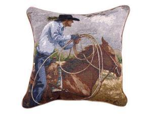 "17"" Country Rustic Cowboy Wrangler ""The Roper"" Decorative Accent Throw Pillow"
