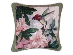 """Hummingbird Garden"" Decorative Accent Throw Pillow 17"" x 17"""