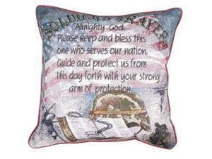 """Soldier's Prayer"" Religious Decorative Accent Throw Pillow 17"" x  17"""