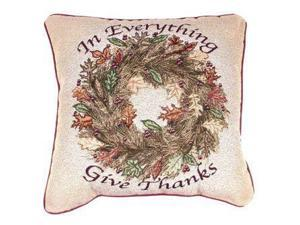 "In Everything Give Thanks Thanksgiving Accent Throw Pillow 17"" x 17"""