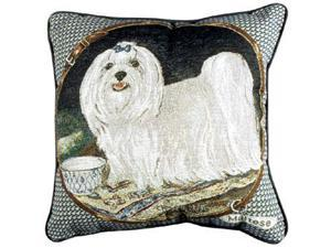 "Maltese Dog Animal Decorative Accent Throw Pillow 17"" x 17"""