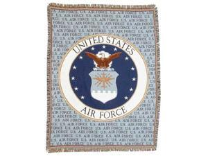 "United States Air Force Crest Afghan Throw Tapestry - 50"" x 70"""