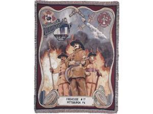 """Fire Fighter Fireman Pictorial Afghan Throw Tapestry - 50"""" x 70"""""""