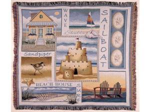 "Sea and Shore Sand Castle Sand Dollar Tapestry Throw Blanket 50"" x 60"""