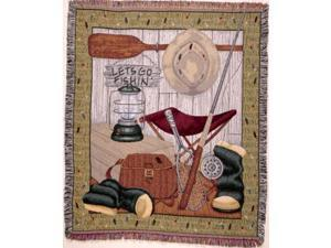 """""""Let's Go Fishing"""" Rod Boots Lantern Paddle Tapestry Throw Blanket 50"""" x 60"""""""