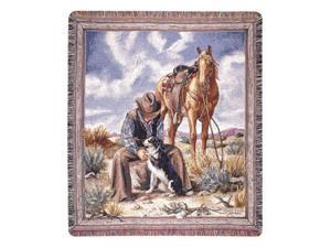 """Cowboy Relaxing In Desert With His Horse & Dogs Tapestry Throw Blanket 50"""" x 60"""""""