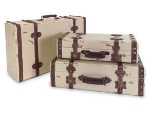 Set of 3 Decorative Weathered Ivory & Brown Suitcases