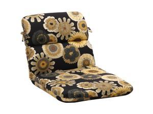 "40.5"" Eco-Friendly Rounded Outdoor Chair Cushion - Black/Yellow Floral"