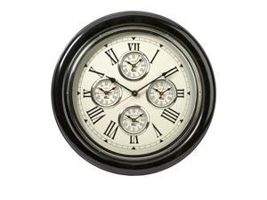 "22"" Elegant 5-Time Zone Roman Numeral Decorative Round Wall Clock"