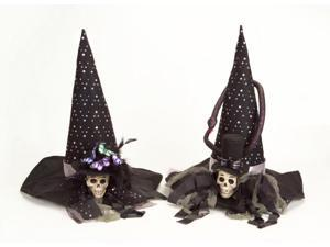 Set of 2 Ornate New Orleans VooDoo Skull Witch Hats for Halloween Costumes 22""