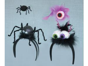Pack of 6 Spider & Eyeball with Feathers Wacky Halloween Costume Headbands 8""