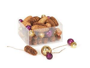 41 Rich Plum Purple and Gold Disco Balls with Glitter Christmas Pine Cones 4""