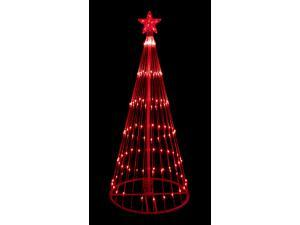 6' Red LED Light Show Cone Christmas Tree Lighted Yard Art Decoration