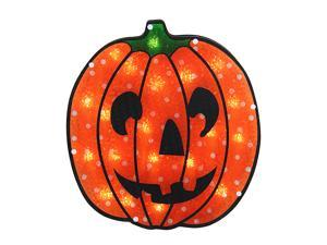 "13"" Lighted Holographic Jack o' Lantern Pumpkin Halloween Window Silhouette"