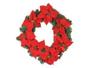 "22"" Red Artificial Poinsettia Christmas Wreath - Unlit"