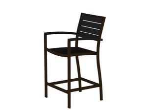 "41"" Earth-Friendly Recycled Patio Counter Chair - Black with Bronze Frame"