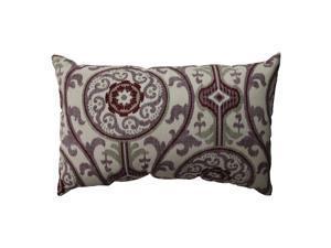 "18.5"" Damask Purple and White Bohemain Rectangular Throw Pillow"