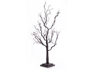"35"" Pre-Lit Black Glitter Swirly Artificial Halloween Tree - Orange LED Lights"