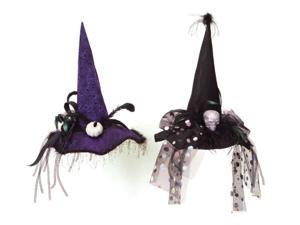 Pack of 6 Purple/Black Skeleton Pumpkin Feather Ribbon Halloween Witch Hats 22""