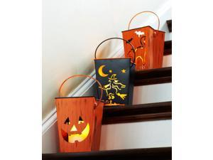 Pack of 6 Halloween Cat, Witch and Pumpkin Distressed Candle Lantern Luminaries