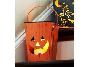 "7"" Distressed Orange Pumpkin Halloween Candle Lantern Luminary"