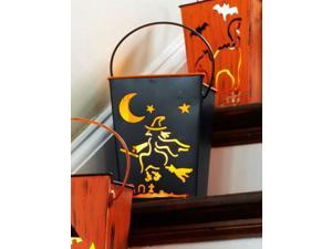 """7"""" Witch Flying on Broom Black Halloween Candle Lantern Luminary"""
