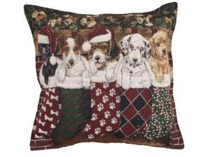 Set of 2 Christmas Puppy Dog Stockings Decorative Tapestry Throw Pillows 17""