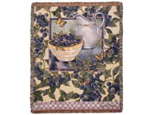 """Blueberry Fruit and Butterfly Garden Decorative Afghan Throw Blanket 50"""" x 60"""""""