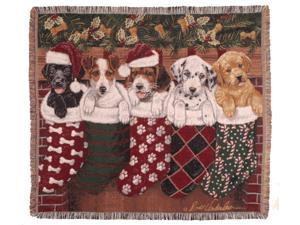 "Puppy Dog & Christmas Stockings Decorative Woven Afghan Throw Blanket 50"" x 60"""