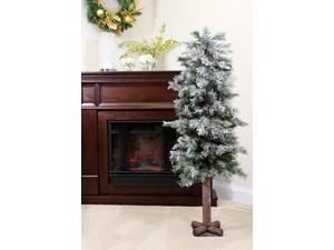 """4' x 24"""" Frosted and Glittered Woodland Alpine Artificial Christmas Tree - Unlit"""