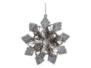 "4.5"" Sparkling Whites Glitter Embellished Floral Star Christmas Ornament"