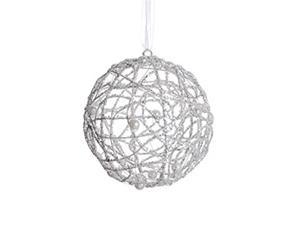 """4"""" White Glittered Cut-Out Christmas Ball Ornament with Faux Pearl Accents"""