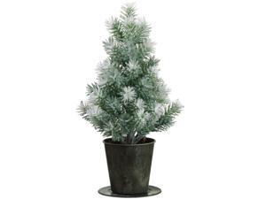 "15"" Potted Laser Flocked Angel Pine Christmas Tree - Unlit"