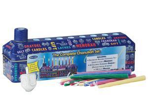 46pc Complete Chanukah Hanukkah Tin Kit - Menorah, Candles and Dreidel