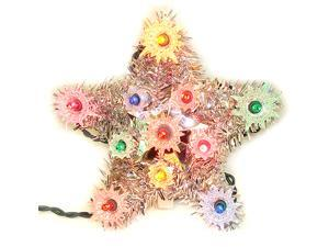 "6"" Lighted Silver Tinsel Star Christmas Tree Topper - Multi Lights"